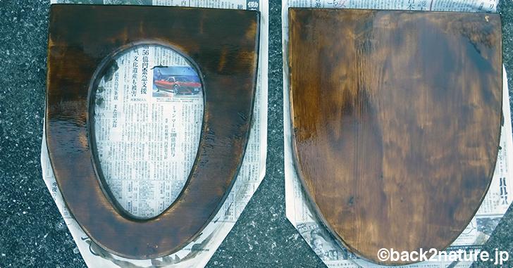 コンポストトイレの自作  3:便座の塗装